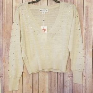 Wildfox Studded Long Sleeve Sweater SZ XS